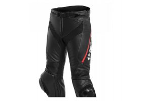 Spodnie DAINESE DELTA 3 LEATHER PANTS Perforowane BLACK/BLACK/FLUO-RED