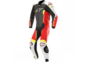 Kombinezon MISSILE LEATHER SUIT TECH AIR BAG COMPATIBLE Black/White/Red Fluorescent/Yeallow Fluoroscent
